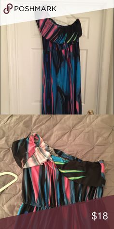 One shoulder  long maxi dress Never worn dress. It's very colorful and fun Dresses Maxi