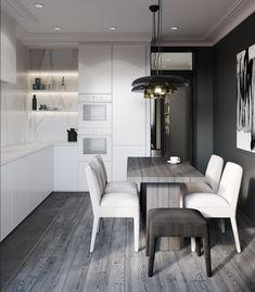 Black & White kitchen apartment/ Smolenka. Tanya Shevchenko Apartment Kitchen, Architecture Design, Conference Room, Black And White, Interior Design, Table, Furniture, Home Decor, Condo Kitchen