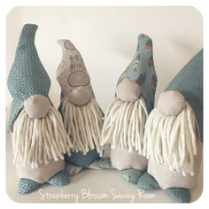 Four little men all complete and in need of their signs. A job for tomorrow I think, and then they'll be ready to go to new gnomes.... I mean, homes!  #strawberryblossomsewing #gnomes #fathersday #gnome #bearded #beardedmen #bignose #mythical #littlemen #