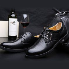 Leather Shoes Men Casual Outdoor Flat Slip On Business Oxfords - US$46.89