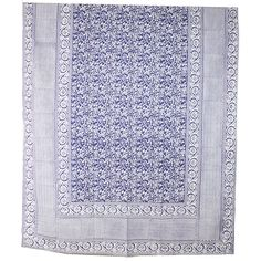 Indigo Tablecloth, $64, use as a shower curtain?