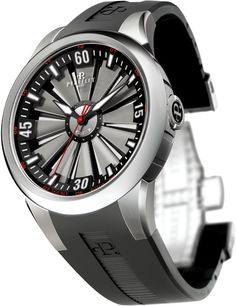 Perrelet Double Rotor Turbine watches, an amazing collection of precision high technology.  Moving rotor blades on the face, counterbalanced by a back weight visible through a showcase backing.  This is simply a stunning piece, prices range from 3-12k, pinned Rotor (model A5006-1) goes for MSRP $5000