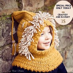 Hope everyone is having happy holiday season! There is a new pattern with special offer today - Lion Hooded Cowl! Kids will love it! #crochet #cowl #hat #hoodedcowl  #crochetpattern #monpetitviolon