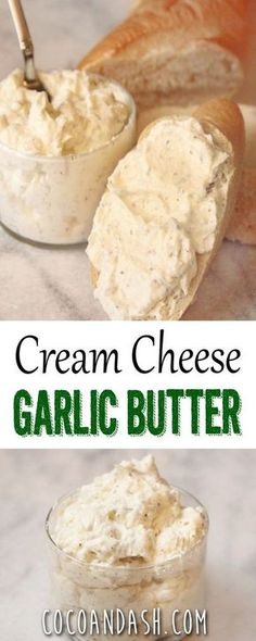 Cream Cheese Garlic Butter - use lo-cal butter spread, Greek yogurt cream cheese or non-fat cream cheese. Flavored Butter, Homemade Butter, Butter Recipe, Whipped Butter, Butter Mochi, Butter Icing, Cookie Butter, Homemade Cheese, Butter Dish