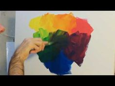 ▶ How to paint: using and mixing primary colours with acrylic paint on canvas. - YouTube
