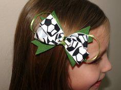 custom colors soccer hair bow by mylittlebows