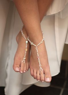 Barefoot Sandals my mom made for me and my bridesmaids