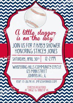 LITTLE SLUGGER SHOWER, Baseball Themed Baby Shower Invitation, Baseball Baby…