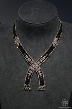 Necklace, 1908, platinum, diamonds, silk