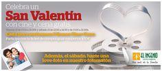 ¡Celebra #SanValentin con cine y cena gratis en El Ingenio! ¡Cada hora sorteamos 5 bonos de Cine+Cena! Te esperamos mañana en horario de 17.00 a 21.00h, y el sábado 13 de marzo, de 12.00 a 14.00 y de 17.00 a 21.00h en El Ingenio.