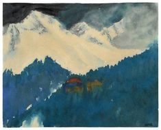 Emil Nolde (German, 1867-1956), Alps Mountain Landscape, 1930. Watercolour on Japan paper.