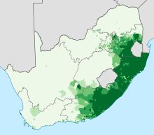 Languages of South Africa-Proportion of the population that speaks an Nguni language as a first language.