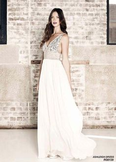 #style #wedding #white #silver #beads #gown