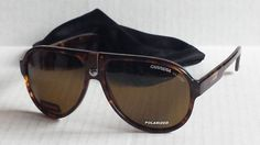 CARRERA men POLARIZED sunglasses brown aviator CARRERA 32 with bag #Carrera #Aviator