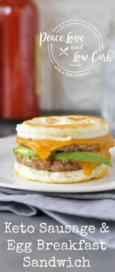 Keto Sausage and Egg Breakfast Sandwich | Peace Love and Low Carb via @PeaceLoveLoCarb