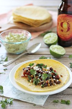 Crockpot Barley and Bean Tacos with Avocado Chipotle Cream | cookiemonstercooking.com