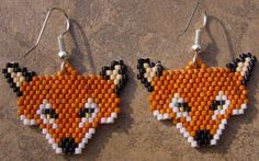 Fox Head  brick stitch seed beaded earrings by wolflady on Etsy, $20.00