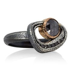 Rona Fischer. Open Pebble Ring with Round Black Diamond in Silver and Rose Gold