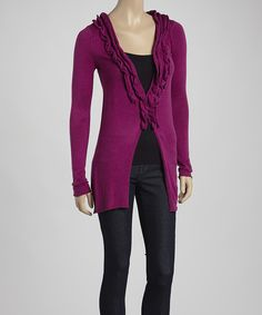 Look at this Violet Ruffle Cardigan on #zulily today!