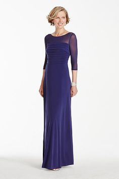 3/4 Sleeve Jersey Dress with Illusion Neckline AWIFM65I