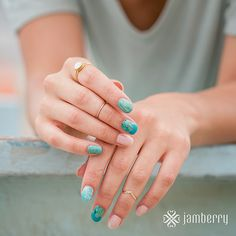 Disney Collection by Jamberry Glimmering Ariel Other nail is: Latte TruShine Gel