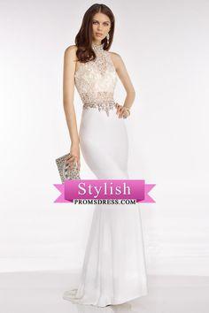 2016 High Neck Prom Dresses Sheath Lace