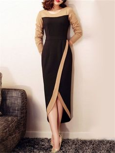 Shop she's black color block maxi tulip dress here, find your evening dresses at dezzal, huge selection and best quality. Modest Dresses, Fall Dresses, Evening Dresses, Casual Dresses, Sexy Dresses, Elegant Dresses, Work Dresses, Bride Dresses, Summer Dresses