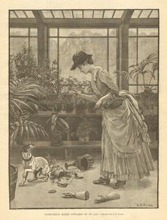 Victorian, Lady Scolding Dog, Greenhouse Cat, Vintage, 1887 Antique Art Print. #Vintage