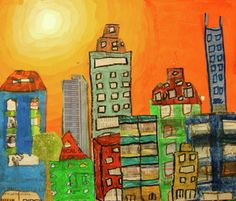 Paint background using tints. Draw city scape-then cut and glue to background