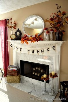 Inspire your family to give thanks this November with a burlap banner hung from your mantel.