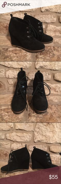 Steve Madden Black Suede Ankle Wedge Boots Booties Black suede. Some wear. Great condition. Steve Madden Shoes Ankle Boots & Booties