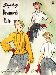 1940s HIGH FASHION Blouse Pattern SIMPLICITY DESIGNERS 8054 Beautiful Front Tucks Overblouse or Tuck In Notched or Regular Collar Day or Evening Wear Bust 30 Vintage Sewing Pattern FACTORY FOLDED
