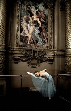A dancer in one of the Paris Opera Ballet's grand spaces    Photo © & courtesy of Gérard Uféras