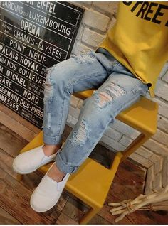 ef753b774 Hot Offer Boys & Girls Ripped Jeans Spring Summer Fall Style 2018 Trend  Denim Trousers For Kids Children Distrressed Hole Pants