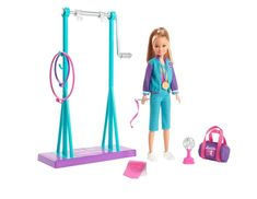 Barbie Team Stacie Doll Gymnastics Playset With Accessories Mattel for sale online Polly Pocket, Frozen Disney, Spin Bar, Poupées Our Generation, Purple Leotard, Ri Happy, Star Trophy, Suits And Sneakers, Accessoires Barbie