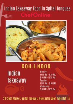 Koh-I-Noor is an Indian Restaurant and Takeaway in Spital Tongues NE1. Located in the heart of Newcastle Upon Tyne, Koh-I-Noor offers fresh Indian food and fast service for collection Order takeaway food and book a table online from Koh-I-Noor through ChefOnline in just a few clicks. Koh I Noor, Newcastle, Indian Food Recipes, A Table, Menu, Restaurant, Fresh, Heart