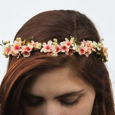 Coral Peach Bridal Flower Crown - Peach Blossom And Ivory Berry Hair Wreath, Flower Tiara, Apricot, Salmon Pink, Flower Girl