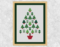 Christmas tree cross stitch pattern, modern Christmas cross stitch chart, simple, easy, quick, stylised, xmas motifs, PDF - instant download by Climbing Goat Designs