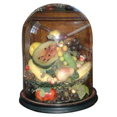 Antique 19th c. Victorian Wax Fruit Centerpiece Under Original Glass Dome