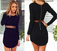 spring and summer fashion new female long sleeve o-neck dress / Women solid color Slim above knee Mini dress