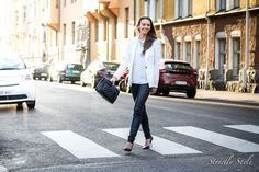 leather pants and white blazer street style outfit ootd