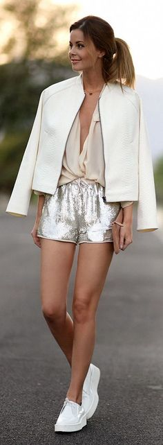 Silver Sequin Shorts white jacket, cream blouse, white sneakers. Street summer women fashion outfit clothing style apparel @roressclothes closet ideas