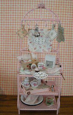 Miniature dollhouse bakery rack by Mosswayminiatures on Etsy, $78.00