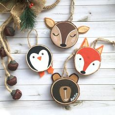 Hand painted wood slice Christmas ornaments - Before After DIY Penguin Ornaments, Wooden Ornaments, Diy Ornaments, Wooden Reindeer, Picture Ornaments, Tree Decorations, Christmas Decorations, Kids Christmas Ornaments, Wood Slice Crafts