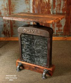 Steampunk Industrial Pub Table, Lamp Stand Oliver Farm Tractor #833                                                                                                                                                                                 More Car Part Furniture, Automotive Furniture, Automotive Decor, Metal Furniture, Rustic Furniture, Handmade Furniture, Luxury Furniture, Office Furniture, Furniture Design
