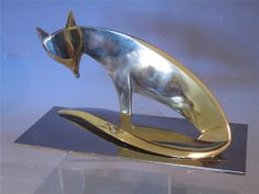 Stunning Geometric Art Deco Chromed figure of a Stylised Fox by Hagenauer