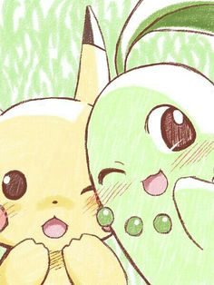 Pikachu y Chikorita :3 (Pokemon)