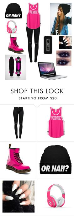 """""""Djing with Mahogany Lox"""" by allisenthornal ❤ liked on Polyvore featuring J Brand, Dr. Martens, Beats by Dr. Dre, LG and MAC Cosmetics"""