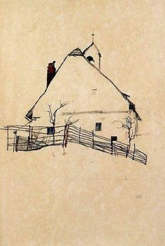 House with Bell Tower, 1912 - Drawing by Egon Schiele Gustav Klimt, Drawing Sketches, Art Drawings, Sketch Art, Drawing Tips, Illustration Art, Illustrations, Inspiration Art, Art Graphique