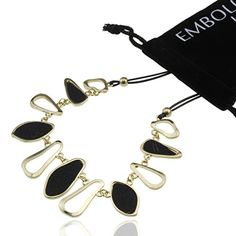 Beautiful Gold and Black Charms Rope Chain Necklace  Fashion Jewelry Accessories for Women Girls Teens ** Read more reviews of the product by visiting the link on the image.